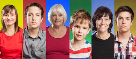 colored backgrounds: Series of six people, from preschooler to senior, colored backgrounds Stock Photo