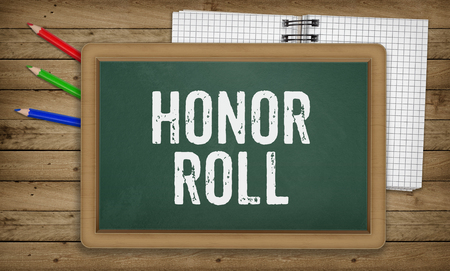 honor: Word Honor Roll as text in chalk on green board, Education school concept Stock Photo