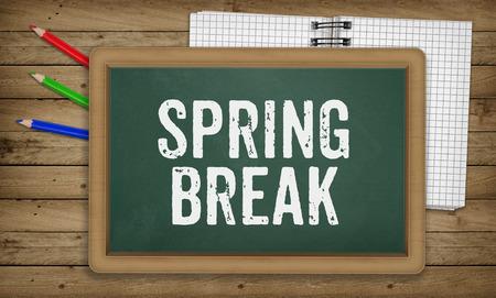 break in: Word Spring Break as text in chalk on green board, Education school concept