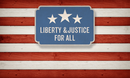 justice for all: Liberty and Justice for all slogan from constitution of the USA on US American color scheme background Stock Photo