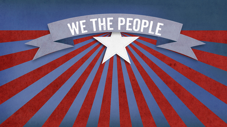 We the People slogan from constitution of the USA on US American color scheme background