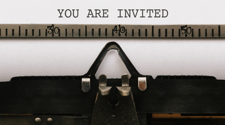You are Invited, Text on paper in Vintage type writer machine from 1920s closeup with paper