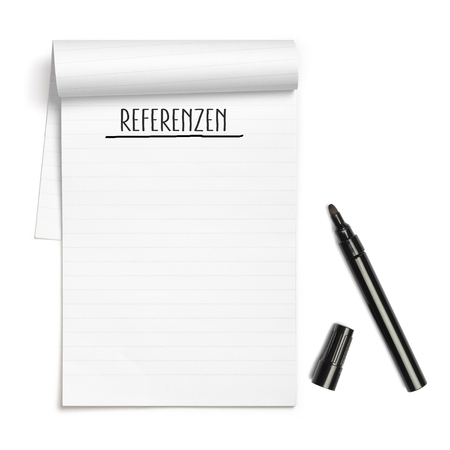 referrer: German word Referenzen (Testimonials) on note book with black pen, with copy space, isolated on white background Stock Photo