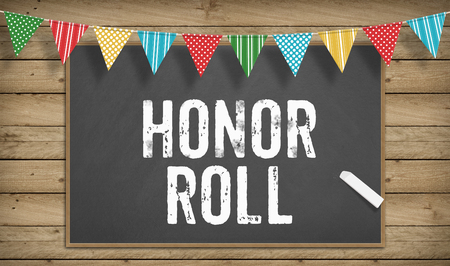 Word Honor Roll as text in chalk on blackboard, Education school concept