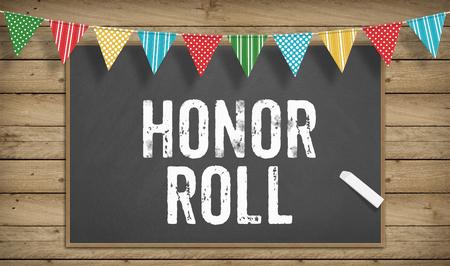 Word Honor Roll comme texte à la craie sur le tableau noir, concept d'école d'éducation Banque d'images