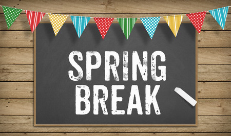 break in: Word Spring Break as text in chalk on blackboard, Education school concept