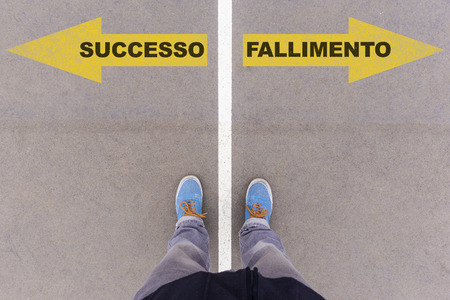 successo: Successo e fallimento, Italian text for Success and Failure, direction sign text on asphalt ground, feet and shoes on floor, personal perspective footsie concept Stock Photo