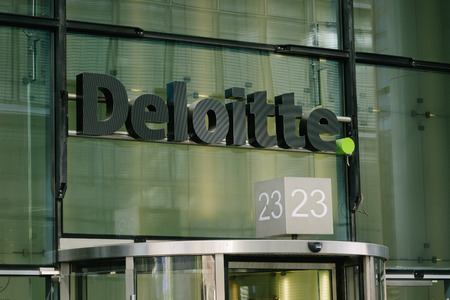 autograph: BERLIN, GERMANY - MAY 11, 2017: Deloitte business consulting company brand trademark logo on store front at famous Kurfuerstendamm in Berlin Charlottenburg.