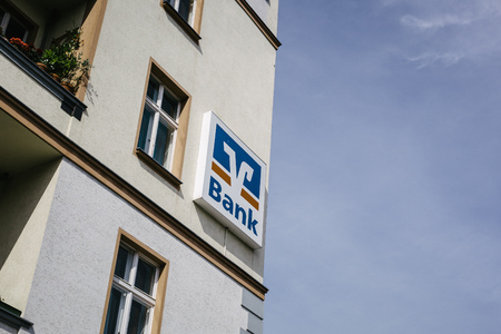autograph: BERLIN, GERMANY - JUNE 15, 2017: Volksbank consumber bank trademark brand logo on store in central Berlin Prenzlauer Berg