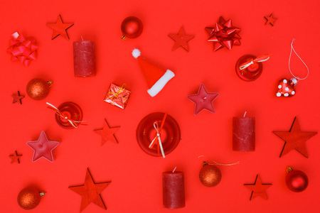 Christmas flat lay decoration elements in minimalistic style, only red color