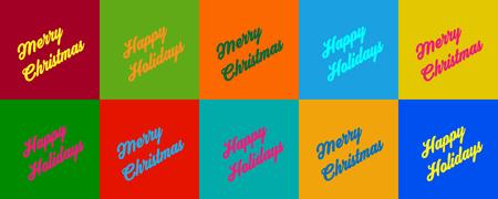 Buon Natale e buone feste in una serie di spazi colorati