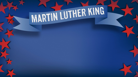 Martin Luther King Day celebration banner in US American color scheme design