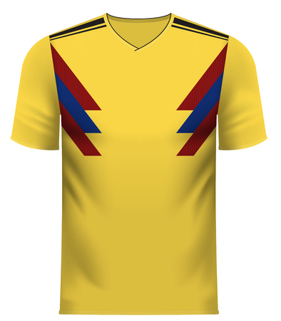 Colombia national soccer team shirt in generic country colors for fan apparel.