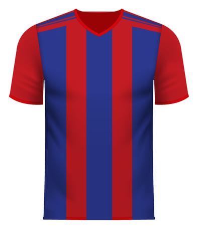 Sports team v-neck tee shirt mockup in generic common color combination pattern Ilustração