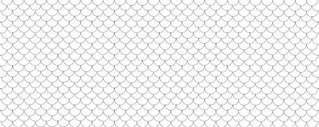 Fondo de patrón geométrico de escala de pescado panorámica amplia en blanco y negro Ilustración de vector