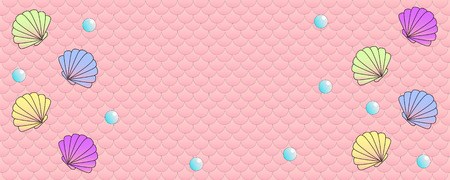 Pink colored wide panoramic fish scale pattern background Standard-Bild - 100261063