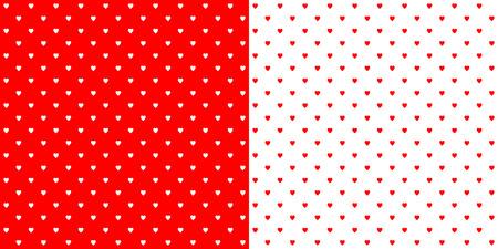 Helderrode hartvorm ontworpen traditioneel retro design polka dot patroon, twee omgekeerde tegels in een naadloze geometrische herhaling. Vector Illustratie