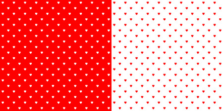 Bright red heart shape designed traditional retro design polka dot pattern, two inverted tiles in a seemless geometric repetition. Illustration