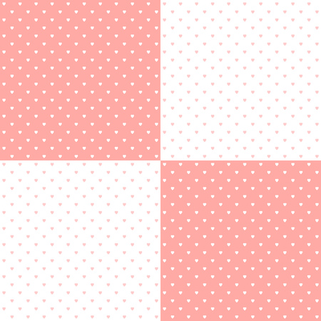 Pastel pink heart shape designed traditional retro design polka dot pattern, two inverted tiles in a seemless geometric repetition.