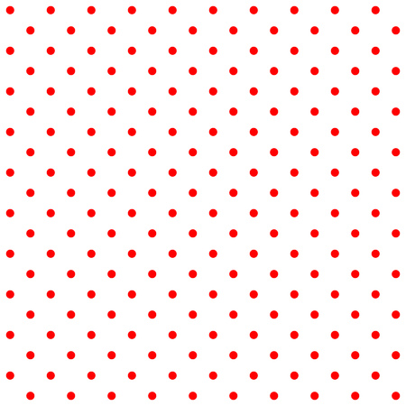 Bright red traditional retro design polka dot pattern, two inverted tiles in a seemless geometric repetition.