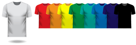 Set of multiple v-neck tee shirts in rainbow color series Illustration