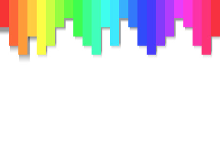 Rainbow Colors as gradient banner frame with drop shadows Vectores