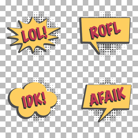 Set of speech and thought bubbles in retro cartoon style with popular internet communication acronyms, graphic design elements