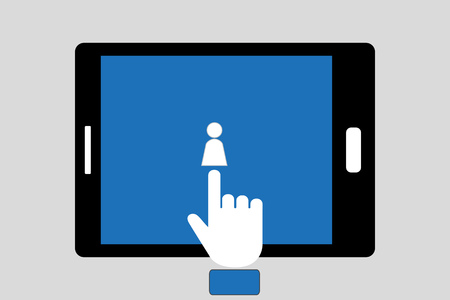 Finger pressing person icon, concept for adding people as friend or follow someone on social media Vectores