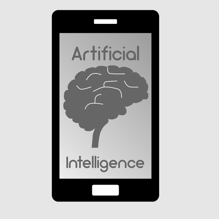 Smart phone with simplified illustration of a human brain as concept for artificial intelligence
