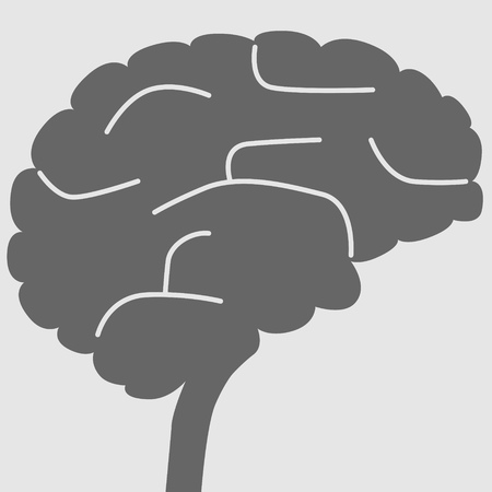 Simplified illustration of a human brain as concept for intelligence