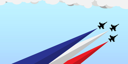 Banner for national holiday celebration with blue white and red flag colors for USA on July 4 as Independence Day or France on July 14 as Bastille Day