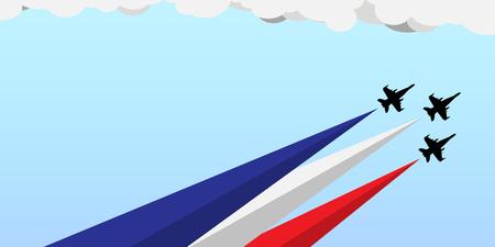 Banner voor nationale feestdag met blauw-witte en rode vlagkleuren voor de VS op 4 juli als Onafhankelijkheidsdag of Frankrijk op 14 juli als Bastille-dag