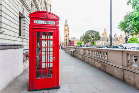 Iconic travel site in central London, England with famous landmark sights Big Ben and parliament in Westminster