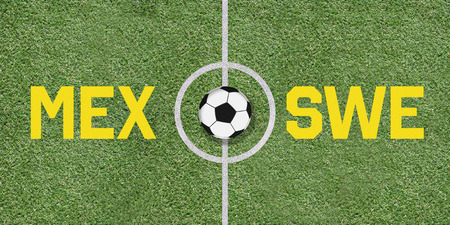 Mexico and Sweden in international football game pairing on illustrated soccer field with green artificial grass details as sports field texture in background