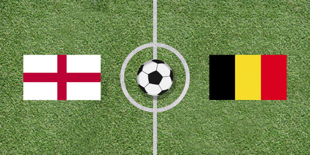 England and Belgium, flags of two countries in international football game pairing on illustrated soccer field with green artificial grass details as sports field texture in background