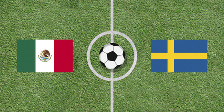 Mexico and Sweden, flags of two countries in international football game pairing on illustrated soccer field with green artificial grass details as sports field texture in background Stock Photo