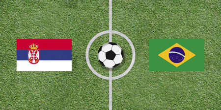 Serbia and Brazil, flags of two countries in international football game pairing on illustrated soccer field with green artificial grass details as sports field texture in background Stock Photo