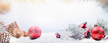 Wide panorama Christmas decoration table banner image