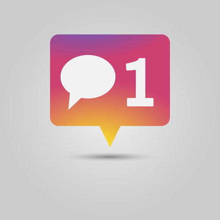 New comment social media popup notification message window icon with speech bubble and number one