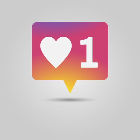 Like or love social media popup notification message with heart shape and number one