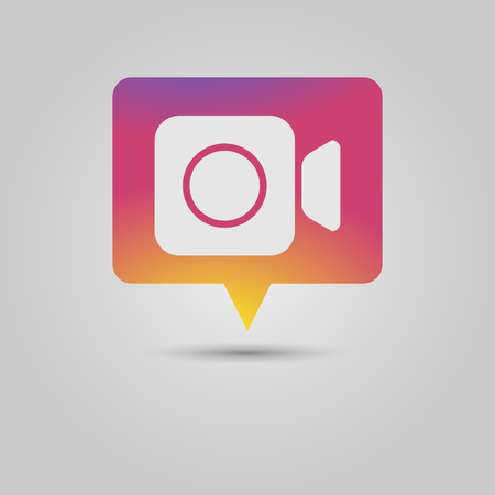 Foward arrow icon as Social media popup notification message window with sunset inspired background and drop shadow