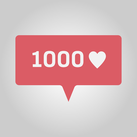 Number 1000 and love heart for many new likes, red social media popup notification message window icon