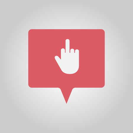 Middle finger as sign of disappointment, red social media popup notification message window icon Çizim