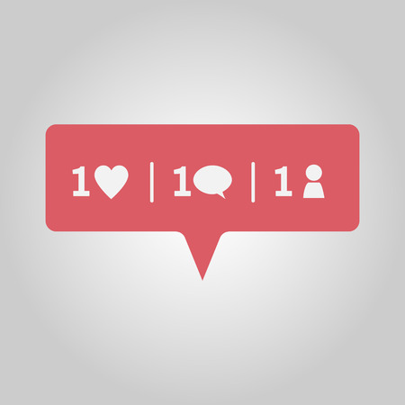 New love, comment and friend notification, red social media popup message window icon