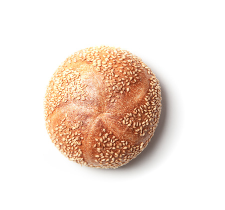 Fresh baked Kaiserbroetchen (German for emperor bread roll) with sesame seeds, isolated on white Reklamní fotografie