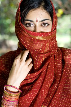an Indian young woman in traditional clothing - Sari photo