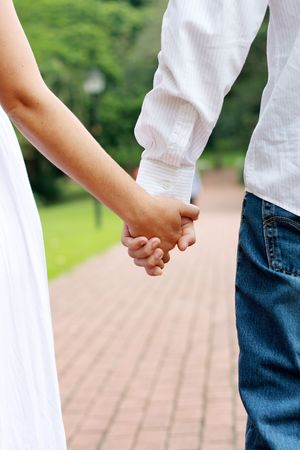 happy couple in love and holding hands Stock Photo - 3925490