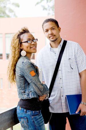 통로: Two young african college students standing in the passage 스톡 사진