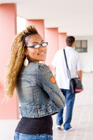 happy young female african college student Stock Photo - 3923111