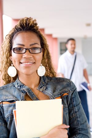 happy young female african college student Stock Photo - 3923113